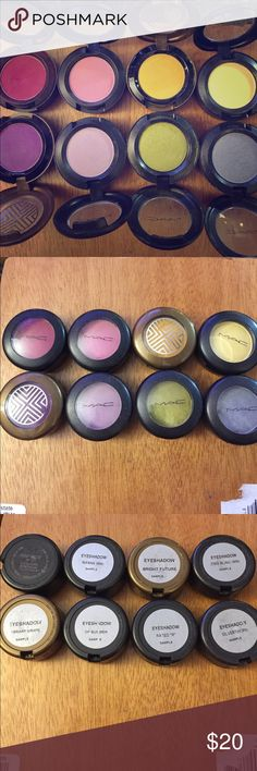 """MAC """"brights"""" fun color FULL SIZE SAMPLE bundle Post Haste, Wanna. bright Future, Zing Bling, Vibrant Grape, Of Summer, Rated """"R"""", Silverthorn MAC Cosmetics Makeup Eyeshadow"""