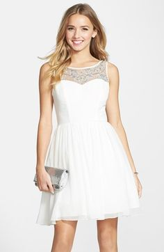 Way-In 'Adele' Embellished Illusion Yoke Skater Dress in Eggshell (Juniors) available at Nordstrom