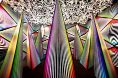 'prism break', an immersive installation by new york-based artist dalek (james marshal), is the backdrop to the official release   of his 'phantom 4D board shorts' design for hurley surf/skate -lifestyle brand. viewable august 5th through september 30th   at the hurley space gallery in california, the installation features floor-to-ceiling multi-coloured triangles and spires   and painted walls, all observable with specially created '4D glasses' for enhanced viewing.
