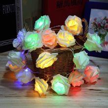 4 Colors Fashion Holiday Lighting 20 LED Rose Flower String Lights Fairy Wedding Party Christmas Decoration(China (Mainland))