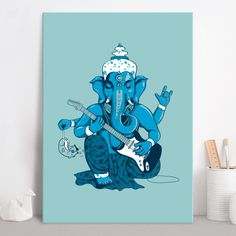Ganesha rocks! Poster made out of metal by @savousepate on @displate #ganesh #ganesha #ganapati #vinayaka #rocknroll #heavymetal #artprint #homedecor