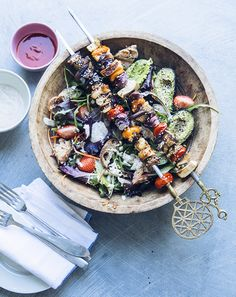 Plant based grill. Delicious veggie skewers with a strawberry salad.