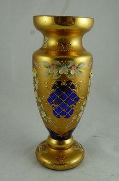 Bohemian Cobalt Blue Gilt and Enamel Decorated Vase