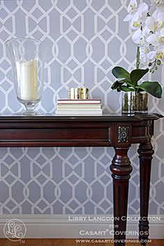 Libby Langdon for Casart coverings_Groovy Gate Steel Gray_Rm View2 #wallpaper