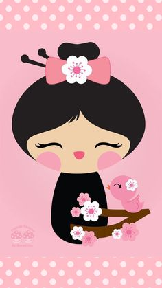 Sakura Kokeshi iPhone Wallpaper