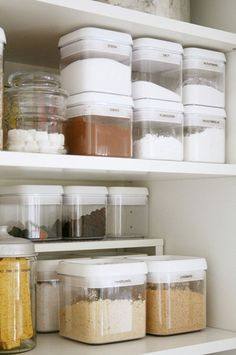 Pantry Organization Ideas: Using containers that are uniform in size makes it easier to stack and store them in your pantry.