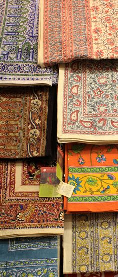 These beautifully intricate fair trade table covers are hand block printed with a shesham wood block in India.