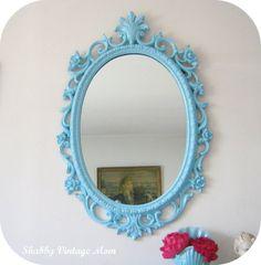 Upcycled Ornate Syroco Aqua Mirror. via Etsy.