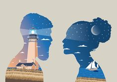 Little Talks illustration by Federico Gastaldi. man, woman, boy, girl, sea, ocean, love, couple, lighthouse, sail, moon, sky, stars, profile, shape, clouds, salzmanart.com, Salzman International