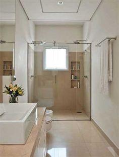 Banheiros com Porcelanato Bege, Branco, Preto, Amarelo Beautiful Interiors, Alcove, Bathtub, House, Bathroom, Closet, Beige Bathroom, Restroom Design, Standing Bath