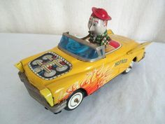 Old Tin KO HOTROD CAR *Vintage Japan Wind-Up Race Car Toy