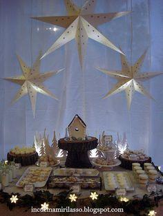 Christmas dessert table at night!