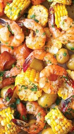 sheet pan shrimp boil Easiest shrimp boil ever! And it's mess-free using a single sheet pan. ONE PAN. No newspapers. No bags. No clean-up! Cajun Seafood Boil, Shrimp Boil Foil, Seafood Boil Recipes, Shrimp Boil In Oven, Shrimp Bake, Seafood Broil, Shrimp And Lobster Boil Recipe, Boiling Crab Shrimp Recipe, Shrimp Foil Packets Oven