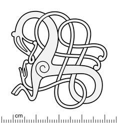 Reconstruction illustration of the Urnes style openwork brooch from Sveine, Norway. The brooch displays the Great Beast motif: a larger animal intertwined by a lesser serpent, which is an extremely common motif in the Urnes style. Similar brooches. Celtic Dragon, Celtic Art, Viking Dragon, Norse Tattoo, Viking Tattoos, Viking Designs, Celtic Designs, Viking Symbols, Viking Art