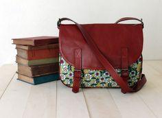 Leather & Canvas Messenger Bag red leather green floral fabric shoulder bag handbag classic
