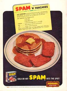 SPAM ad c. 1950s for canned precooked meat product made by the Hormel Foods Corporation, first introduced in 1937. #junk