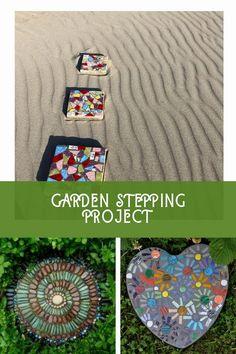 Easy DIY Garden Stepping Stones #gardenrocks Garden Steps, Easy Garden, Lawn And Garden, Amazing Gardens, Beautiful Gardens, Mosaic Walkway, Garden Stepping Stones, Garden Crafts, Easy Diy