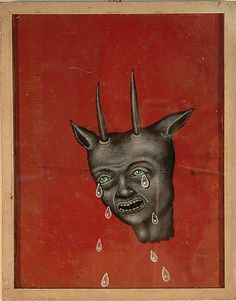 """Fred Stonehouse - Untitled Acrylic on antique book cover 9"""" x 6"""""""