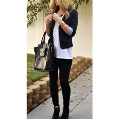 Navy blazer, long white tee, black leggings! #outfit #blazer #fashion