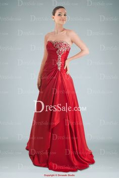 Strapless crimson dress, no straps though. Beautiful but might need some alterations. $175