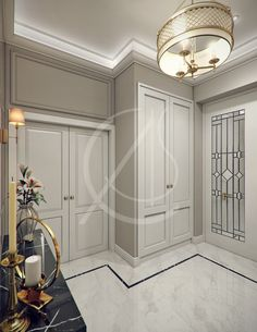 Classic EleganceRound Hall With Pattern Marble Floor And