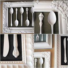 Achei um tutorial bacaninha p/ você decorar sua cozinha ou sala de jantar gastando bem pouquinho. Com uma moldura antiga de porta-retrato ou quadro, um tecido legal para fazer o fundo e talheres an…