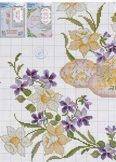 ru / Фото - 331 - / fiołki i narcyzy - Cross Stitch Embroidery, Cross Stitch Patterns, Easter Cross, Beaded Cross, Cross Stitch Flowers, Knitting Designs, Daffodils, Needlework, Diy And Crafts