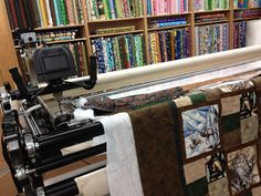 Quilting with the long-arm machine.