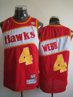 Hawks  4 Spud Webb Red Stitched Throwback NBA Jersey Cheap Football Shirts 0a7b97741