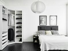 Black floors and elegant vintage furniture Dark black wooden floor gives this Gothenburg apartment a Black Wooden Floor, Black Floor, Ikea Pax Wardrobe, Bedroom Wardrobe, Wardrobe Doors, Pax Closet, Ikea Closet, Wardrobe Cabinets, Wardrobe Closet