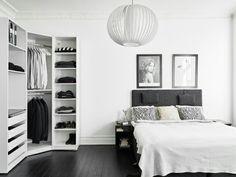 Black floors and elegant vintage furniture Dark black wooden floor gives this Gothenburg apartment a Black Wooden Floor, Black Floor, Ikea Wardrobe, Bedroom Wardrobe, Wardrobe Doors, Wardrobe Cabinets, Wardrobe Closet, Closet Doors, Narrow Bedroom