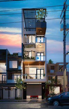 Narrow House Designs, Modern Small House Design, Narrow House Plans, Luxury House Plans, Shop House Plans, Building Design, Building A House, Compact House, 3d Home