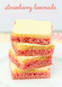 Strawberry Lemonade Cake Mix Bars Recipe – Six Sisters' Stuff