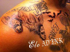 tattoo tetes de chauves souris par Elo de AD'INK Tattoo Studio