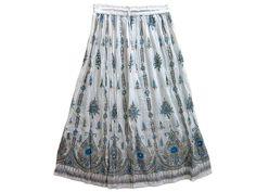 Bohemian Skirt Lehenga Print Women Sequin Skirts Designer Gypsy White Long Skirt   eBay