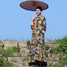 Retro cotton linen collar printing qipao dress