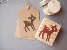 Woodland Deer Rubber Stamp  Woodland Autumn Forest por stampcouture, $10.00