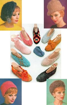 Vintage 1960s Mad Men Collection of 14 Socks Booties and Hats to Crochet or Knit  Pattern PDF 6201.