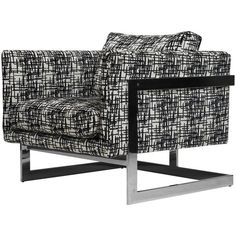 Milo Baughman For Thayer Coggin T-back Chrome Lounge Chair ($2,900) ❤ liked on Polyvore featuring home, furniture, chairs, accent chairs, black, lounge chairs, chrome furniture, black chrome chairs, black white chair and black and white accent chair