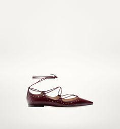 Massimo Dutti Burgundy Leather Flats