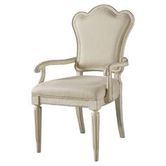 Bring sophisticated appeal to your dining room or home office with this upholstered pine wood arm chair, showcasing a distressed white finish and tapered leg...
