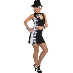 Piano feestjurkje voor dames. Dames jurkje met de afbeelding van piano toetsen. Dit jurkje is gemaakt van 100% polyester.