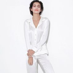 Hollowed Back Silk Pajama Set Silk Sleepwear, Silk Pajamas, Gorgeous Fabrics, Pjs, Pajama Set, Women, Fashion, Moda, Women's