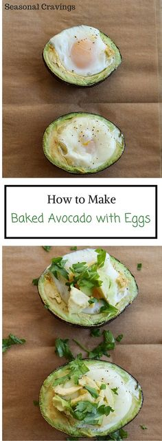 with Egg Baked Avocado with Eggs - full of protein and healthy fats. {paleo, gluten free}Baked Avocado with Eggs - full of protein and healthy fats. Avocado Egg Bake, Avocado Dessert, Baked Avocado With Egg, Healthy Fats, Healthy Snacks, Healthy Eating, Healthy Protein, High Protein, Vegetarian Recipes