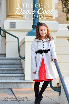 Great idea to use velcro to secure coat and decorative buttons: Little Girl's Dress Coat Tutorial | via Make It and Love It