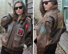 80s Vintage Leather Flight Bomber Jacket AVIREX Type G-1 U.S. NAVY Ultra Cool PATCHES American Heroic Men Women grunge rock Boyfriend Coat L by HarlowGirls on Etsy