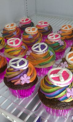 Peace Cupcakes  by Moon Wink Bakery. Come see HAIR live on stage at Sacramento Music Circus AUG 18-23, 2015 at the Wells Fargo Pavilion. TICKETS: http://www.californiamusicaltheatre.com/events/hair/
