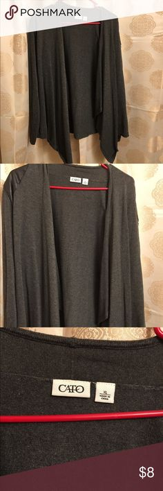 Gray cardigan with faux leather shoulder accent Gray cardigan with faux leather shoulder accent open front, has fraying along the back see image, barely noticeable. Cato Sweaters Cardigans