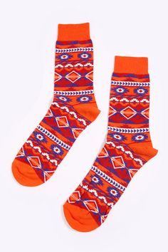 Turquoise & Orange Aztec Socks