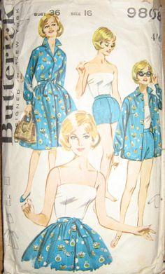 Butterick 9808 circa 1960 sportswear wardrobe: shirt, skirt, shorts, sun top